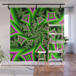 Green And Pink Shapes Fractal Wall Mural