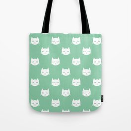 Cat minimal illustration pet cats head drawing digital pattern mint and white nursery art Tote Bag