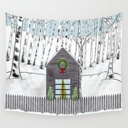 Christmas Cabin In The Snowy Woods Wall Tapestry