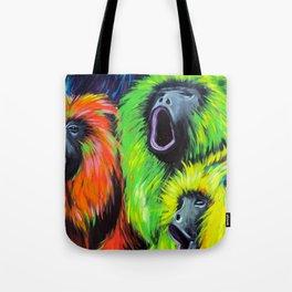 Urban Street Art: Screaming Fluorescent Monkeys Tote Bag