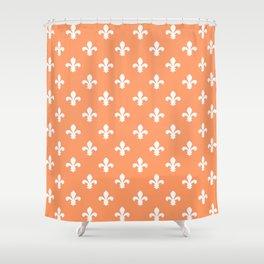 Peach Southern Cottage Fleur de Lys Shower Curtain