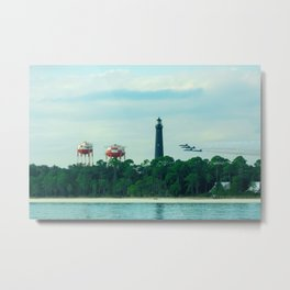 Blue Angels Practicing by Lighthouse, Water Towers, Ocean Metal Print