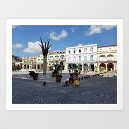 Old Havana square with senoritas. Art Print
