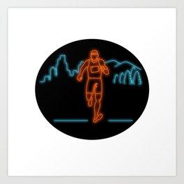 Marathon Runner Running Oval Neon Sign Art Print