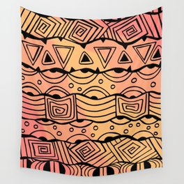 Wavy Tribal Lines with Shapes - Orange - Doodle Drawing Wall Tapestry