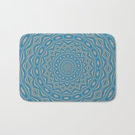 Classic Blue and Cappuchino Dome Effect Mandala Bath Mat