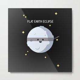Flat earth eclipse Metal Print