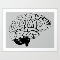 Braaains (black on grey) Art Print