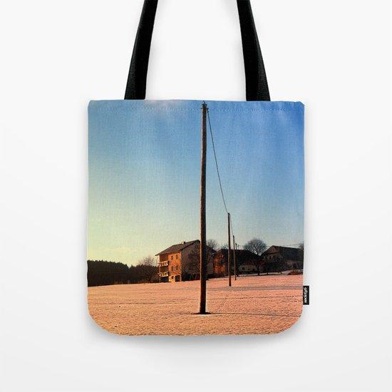 Powerline, sundown and winter wonderland | landscape photography Tote Bag