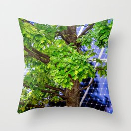 Four Seasons Photosynthesis - Summer. Green Oak Tree And A Solar Power Panel Throw Pillow