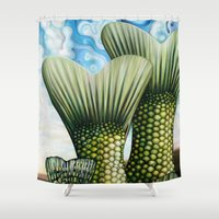 fairy tail Shower Curtains featuring Tail by Thom Whalen