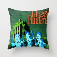 ghostbusters Throw Pillows featuring Hitchhiking Ghostbusters by Sam Carter AKA Cartarsauce