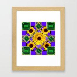 GREEN EMERALDS YELLOW SUNFLOWERS ART Framed Art Print