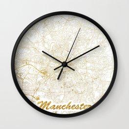 Manchester Map Gold Wall Clock
