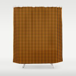 Small Pumpkin Orange and Black Gingham Check Plaid Shower Curtain