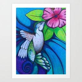 """Fly By"" Humming Bird Art Print"