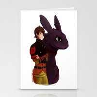 hiccup Stationery Cards featuring Hiccup and Toothless by tsunami-sand