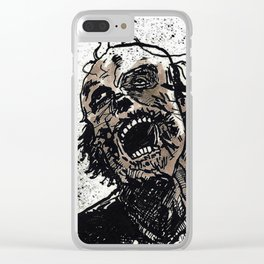 Gray Zombie Clear iPhone Case