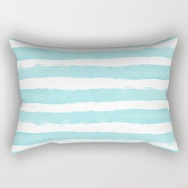 Aqua Blue- White- Stripe - Stripes - Marine - Maritime - Navy - Sea - Beach - Summer - Sailor 2 Rectangular Pillow