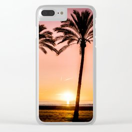 Orange bright sunset at the beach between palms Clear iPhone Case