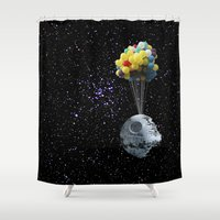 death star Shower Curtains featuring Death Star by J Styles Designs