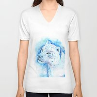 snow leopard V-neck T-shirts featuring Snow Leopard by Georgia Roberts