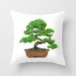 Japanese Bonsai Tree Throw Pillow