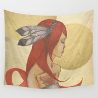 redhead Wall Tapestries featuring Redhead Indian by Oscar Civit