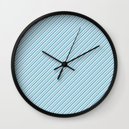 Sky Blue Strong Inclined Stripes Wall Clock