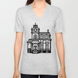 Old Victorian House - black & white Unisex V-Neck