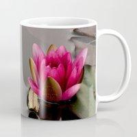 lotus flower Mugs featuring Lotus by Stevyn Llewellyn