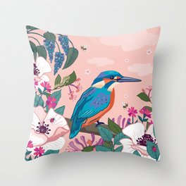 Kingfisher, White Poppies and Buddleia Throw Pillow