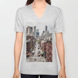 Chinatown, New York City Landscape Painting by Jeanpaul Ferro Unisex V-Neck