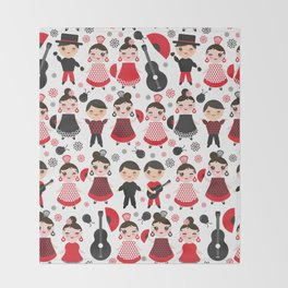Seamless pattern spanish flamenco dancer. Kawaii cute face with pink cheeks and winking eyes. Throw Blanket