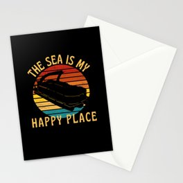 The Sea Is My Happy Place Pontoon Boat Stationery Cards