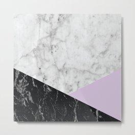 White Marble Black Granite & Light Purple #388 Metal Print