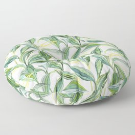 Leaves + Lines in Gold, Green and White Floor Pillow
