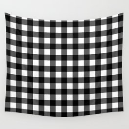Plaid (Black & White Pattern) Wall Tapestry