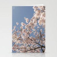 cherry blossoms Stationery Cards featuring  Cherry Blossoms  by cescabear