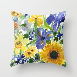 daffodil, iris and sunflower Throw Pillow