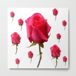 SCATTERED PINK ROSE BUDS FLOWERS Metal Print