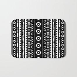 Aztec White on Black Mixed Motifs Pattern Bath Mat