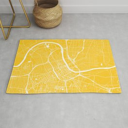 Yellow City Map of Nashville, Tennessee Rug