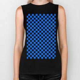 Black and Brandeis Blue Checkerboard Biker Tank