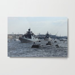 Russian Navy Battleships with passenger boats on Neva River. Metal Print