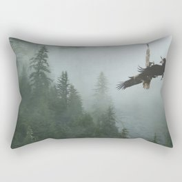 Battle for the Cedars - Bald Eagles Wildlife Scene Rectangular Pillow
