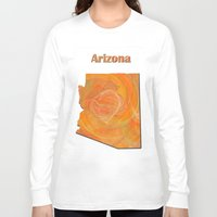 arizona Long Sleeve T-shirts featuring Arizona Map by Roger Wedegis