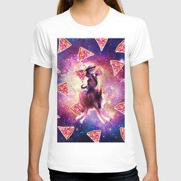 Cowboy Space Cat On Wolf Unicorn - Pizza T-shirt