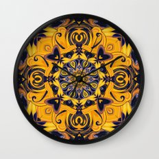 Flame Hearts in Blue and Gold Wall Clock
