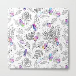 Roses and Crystals Metal Print